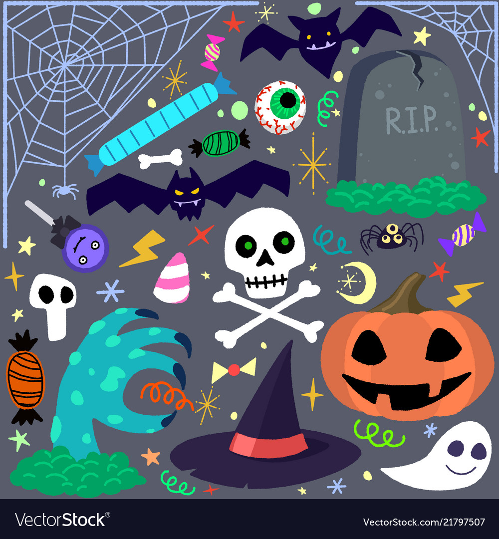 Halloween elements set cartoon