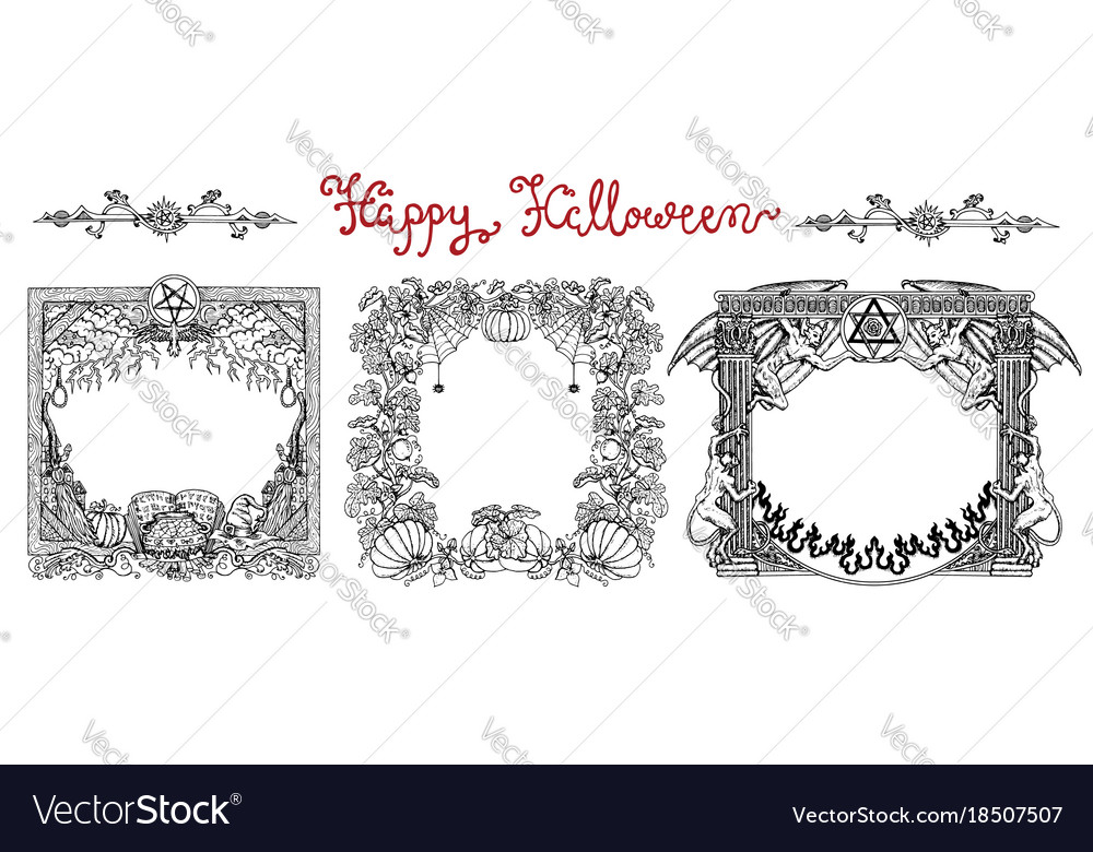 Hand drawn set with halloween frames Royalty Free Vector
