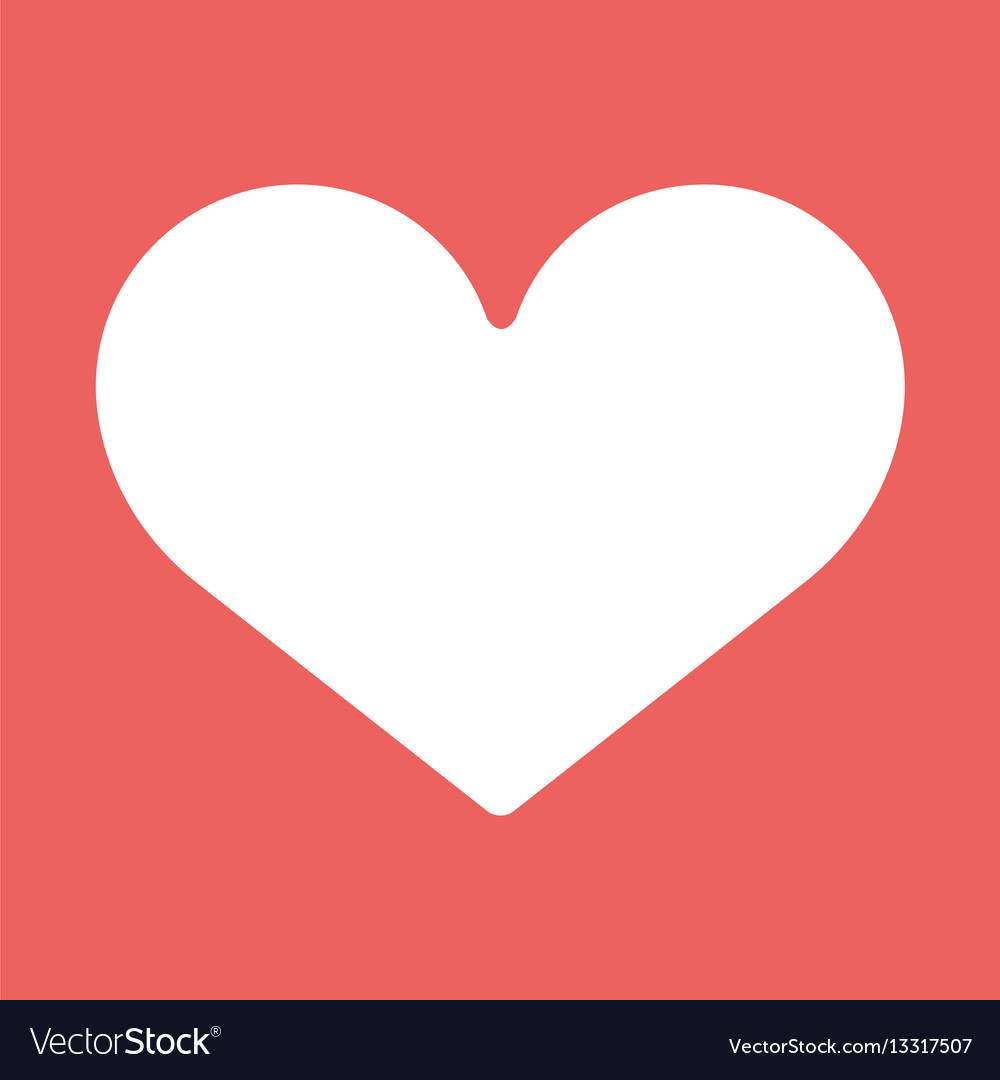 Heart Icon White Symbol Of Love On Red Background Vector Image