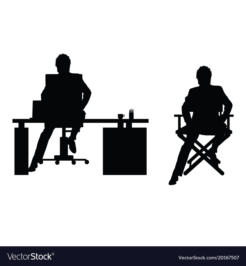 Man silhouette sitting in office Royalty Free Vector Image