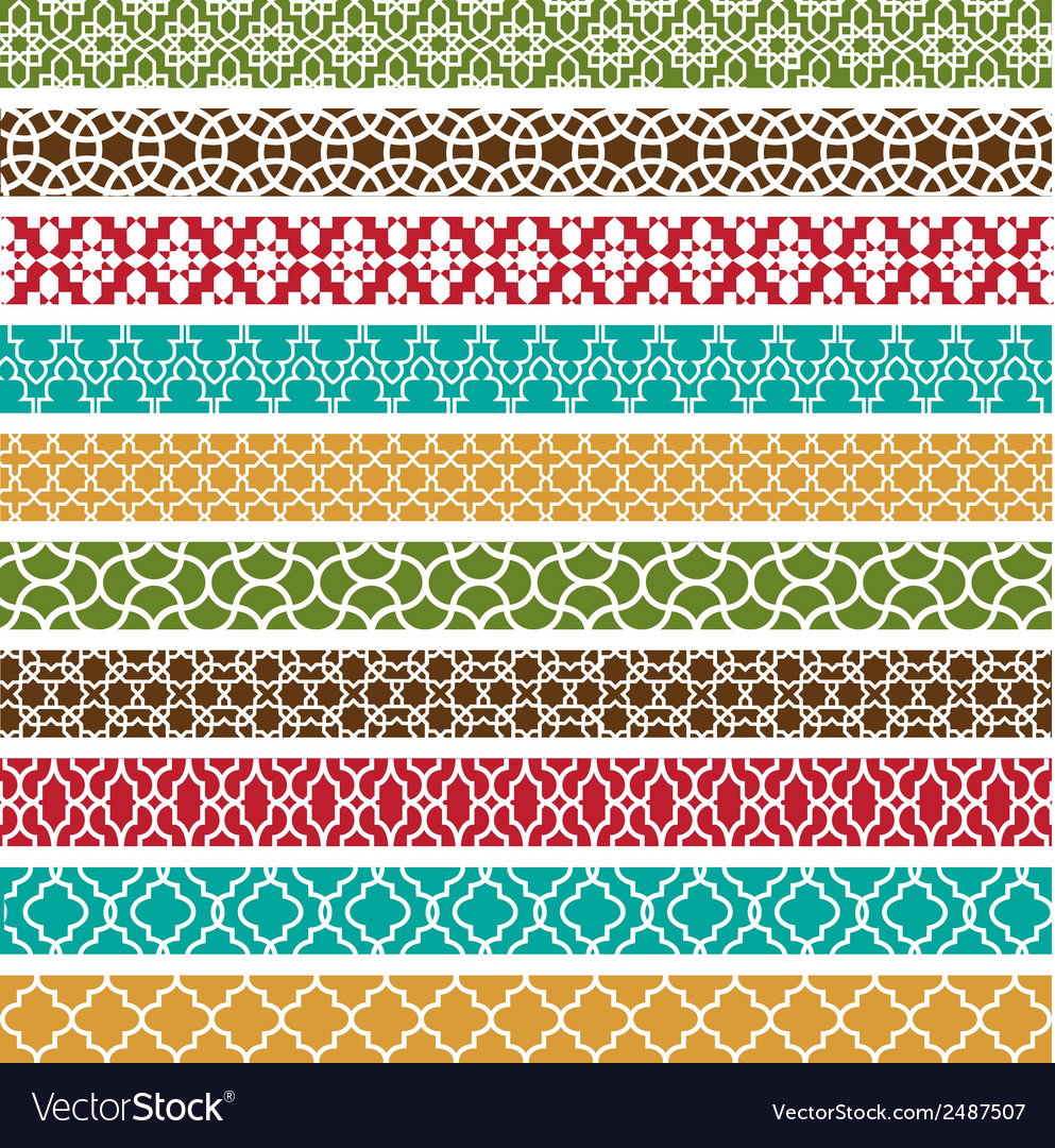 Moroccan Border Patterns Royalty Free Vector Image