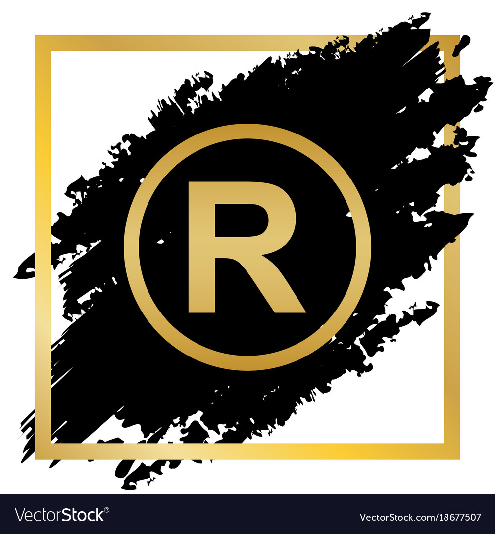 Registered Trademark Sign Golden Icon At Vector Image