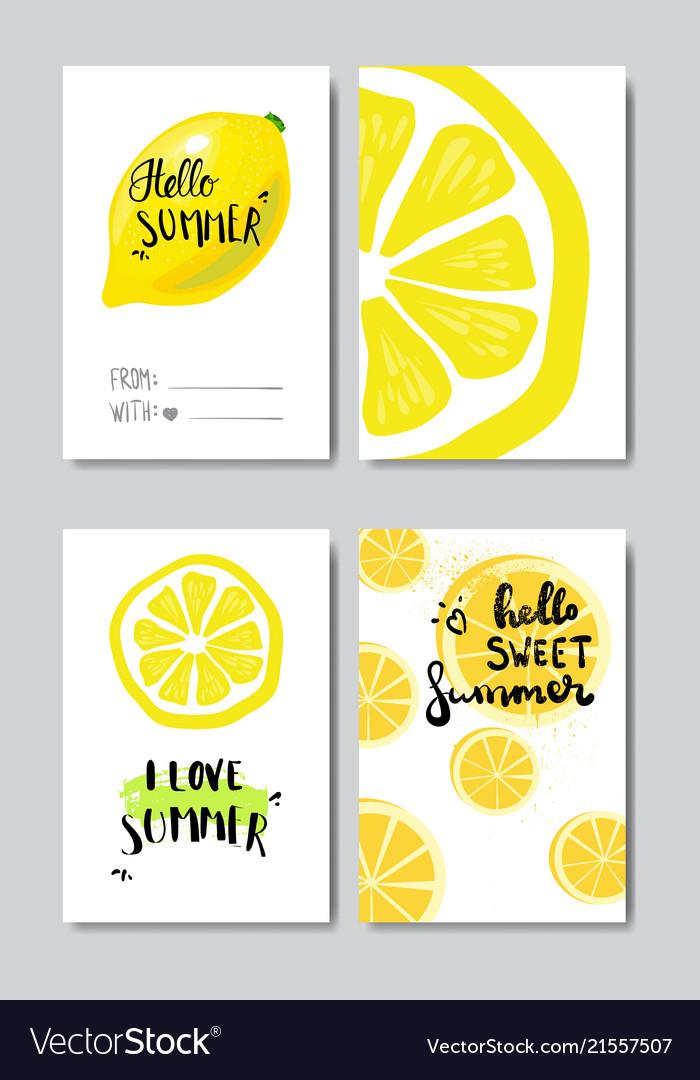 Set hello summer lemon badge isolated typographic