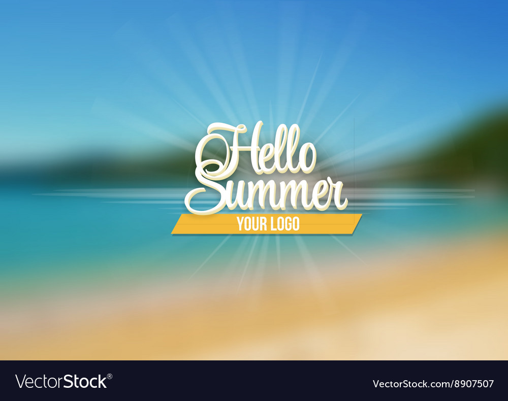 Summer Sea Background with Lettering Say Hello to