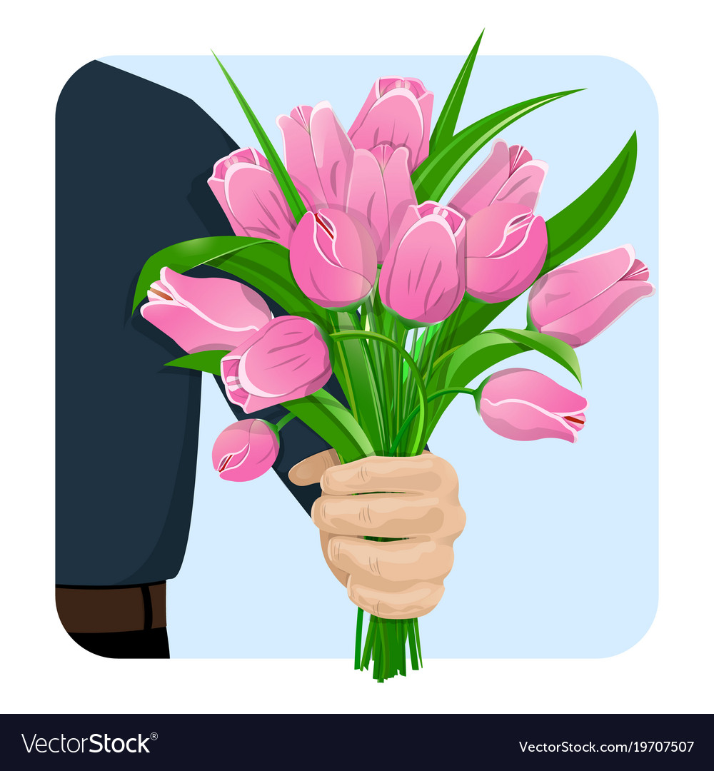 The man gives flowers-02 Royalty Free Vector Image