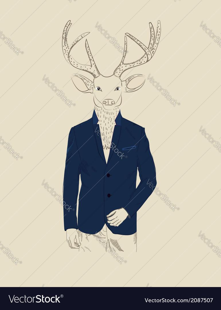 Vintage of a deer in a suit