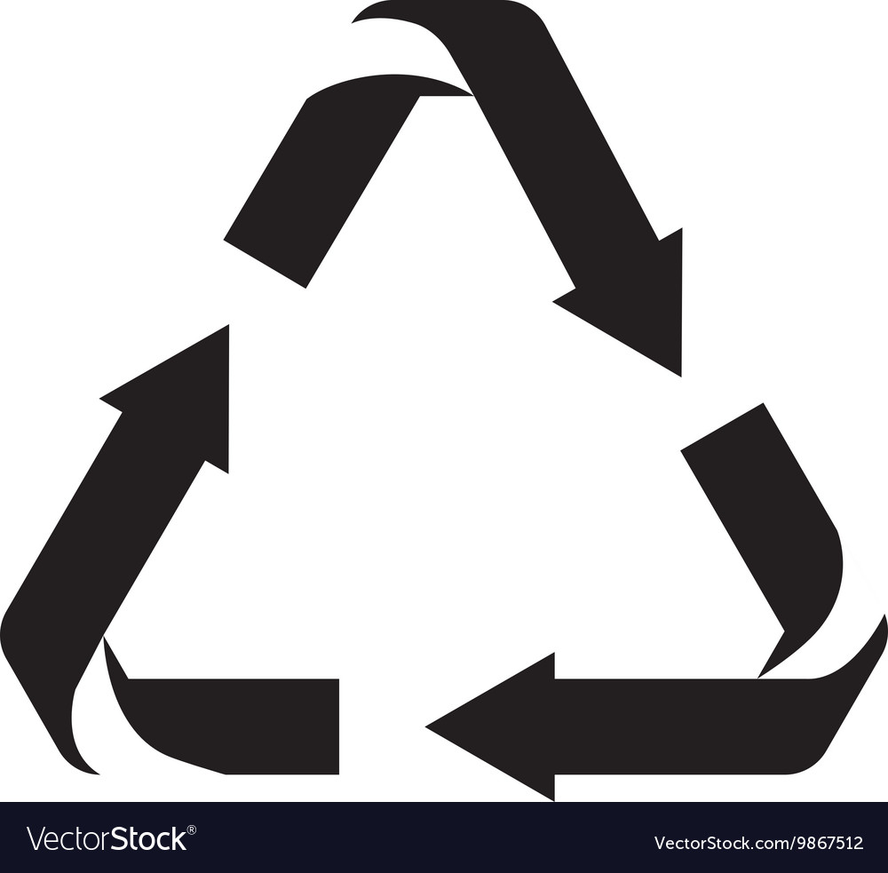 Arrows Recycle Symbol Silhouette Isolated Icon Vector Image