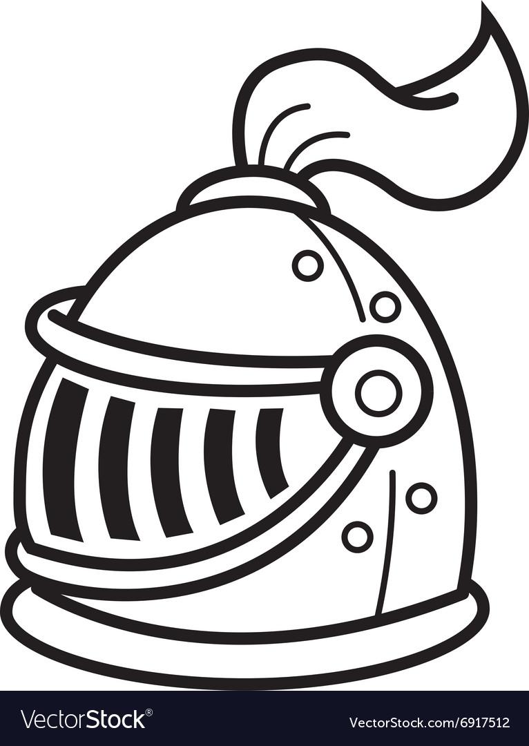 Cartoon knight helmet vector image