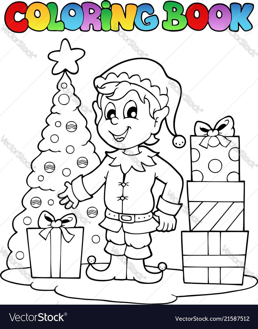 Coloring book christmas elf theme 1 Royalty Free Vector