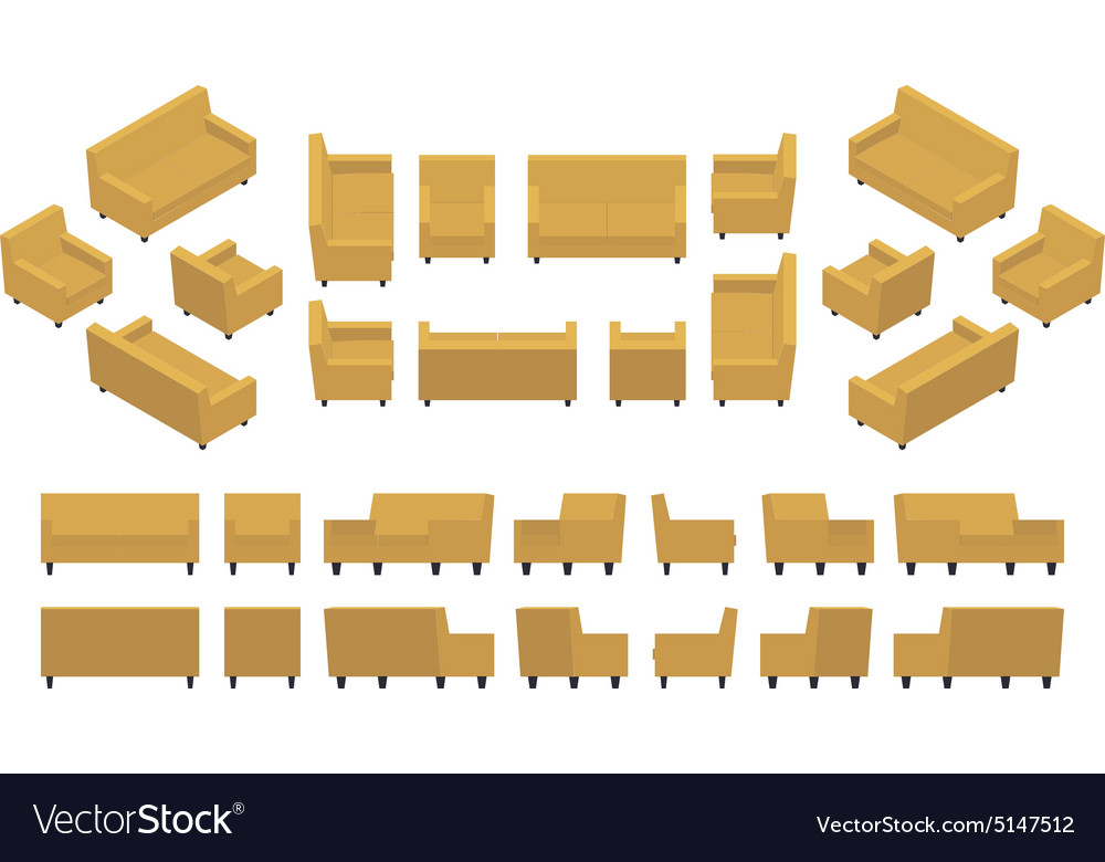 Isometric Yellow Modern Armchair And Sofa Vector Image