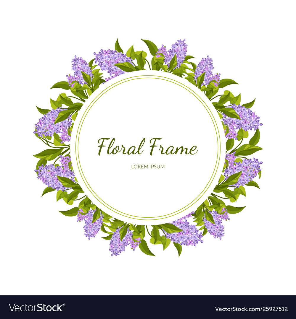 Lilac flowers round frame card template
