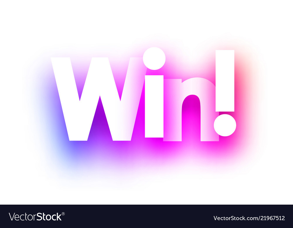 Pink win sign on white background