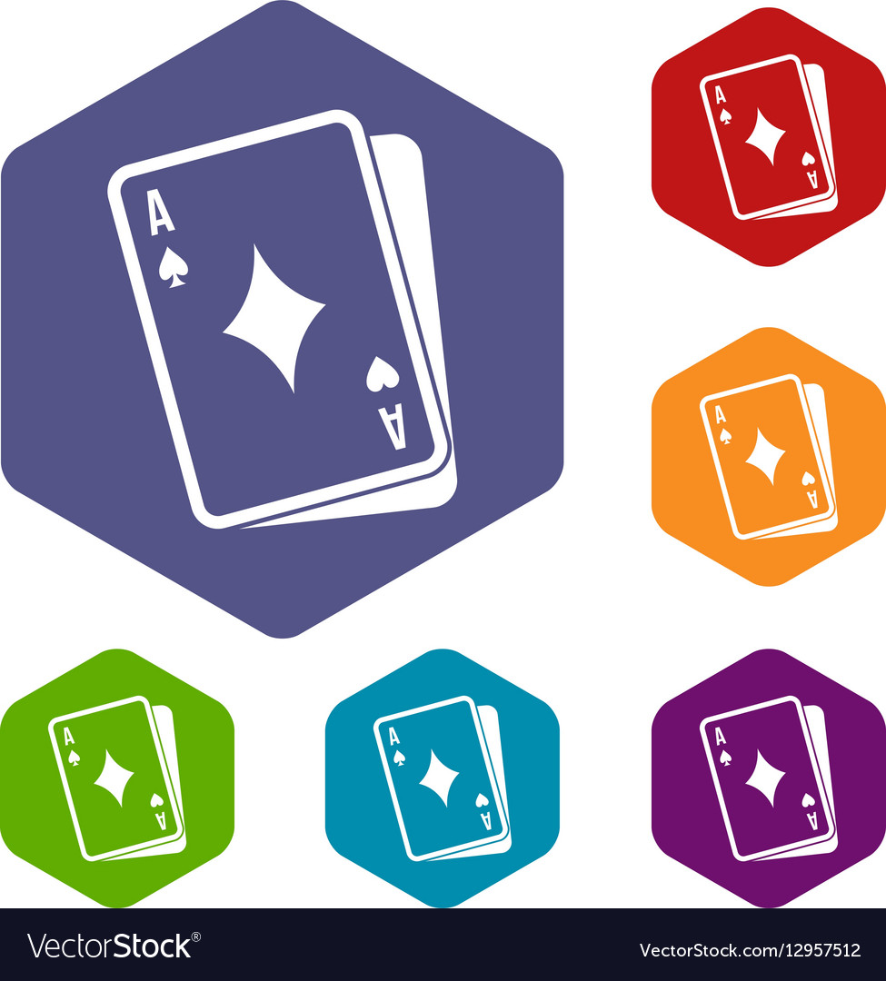 Playing card icons set