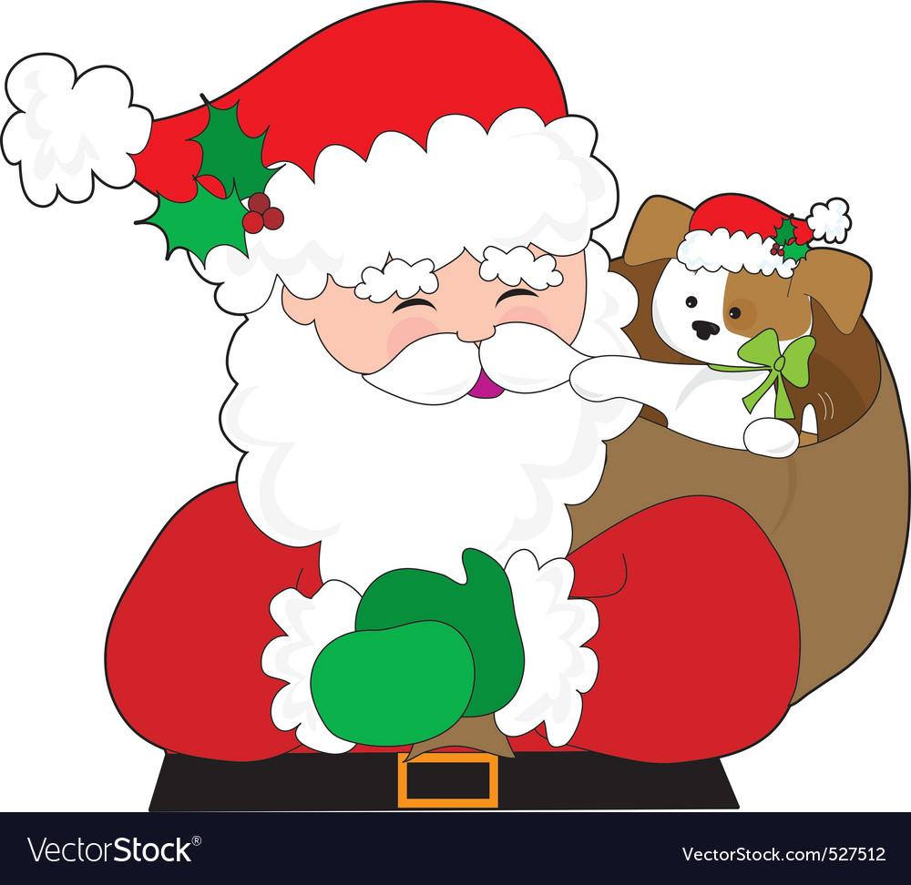 Santa and puppy gift vector image