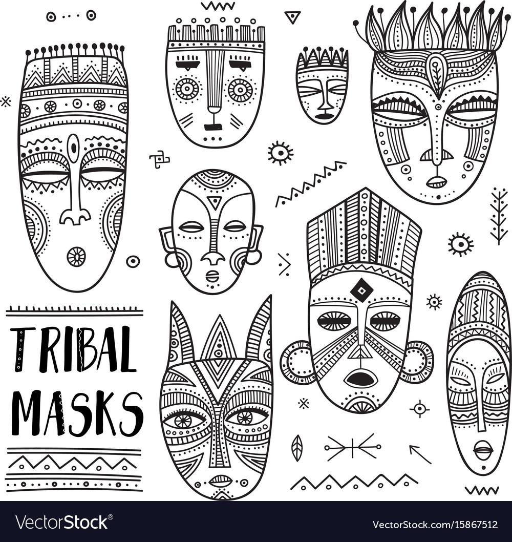 Set of african ethnic tribal masks with boho