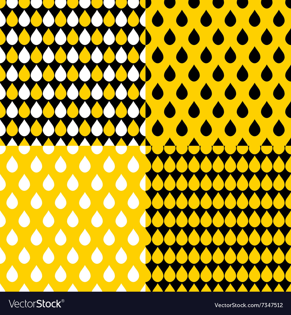 Set Yellow Black Water Drops Background