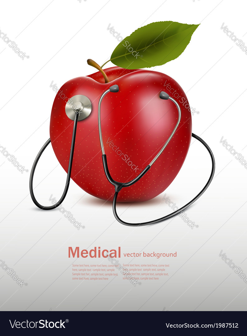 Stethoscope and red apple Medical background