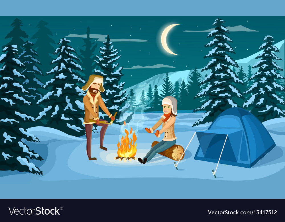 Tourist camp in winter forest