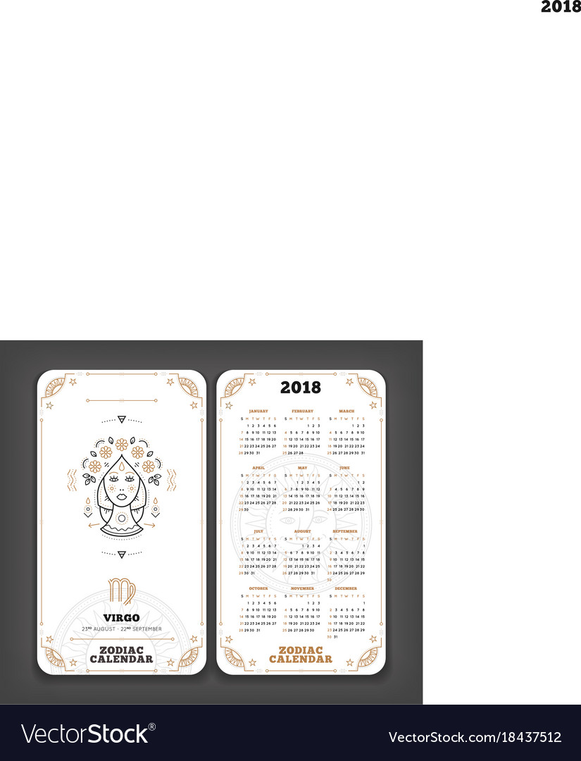 virgo 2018 year zodiac calendar pocket size vector image