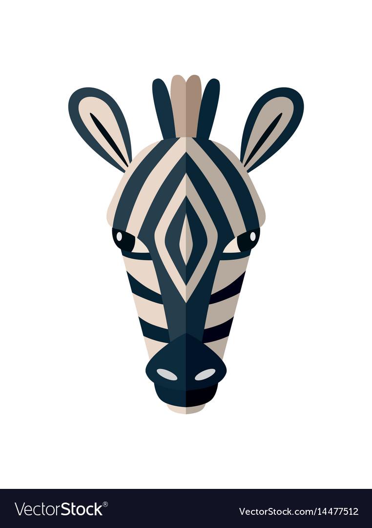 Zebra head icon in flat design
