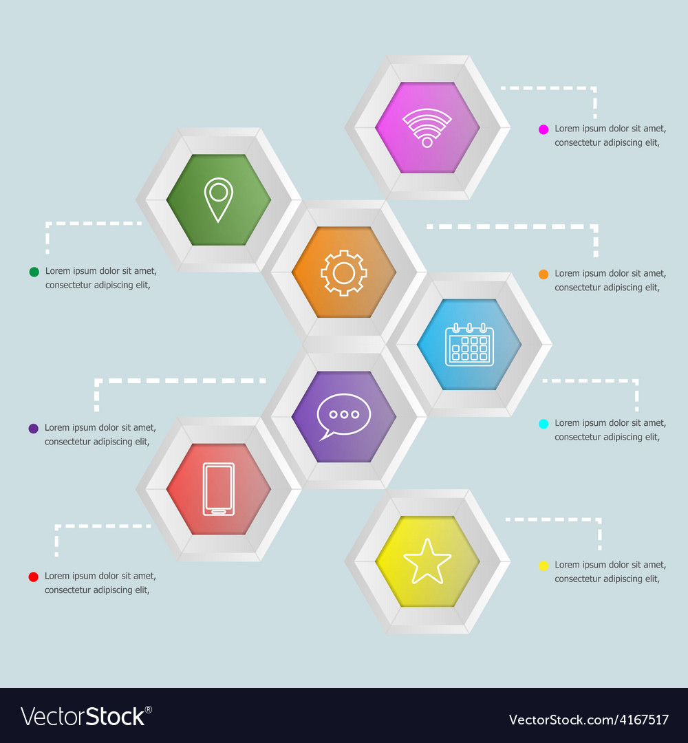 3d hexagon shape infographic template royalty free vector
