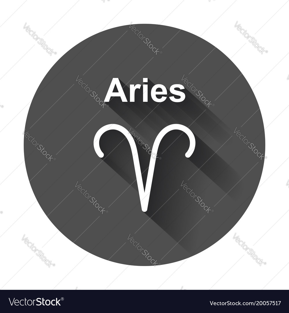 Aries zodiac sign flat astrology with long shadow