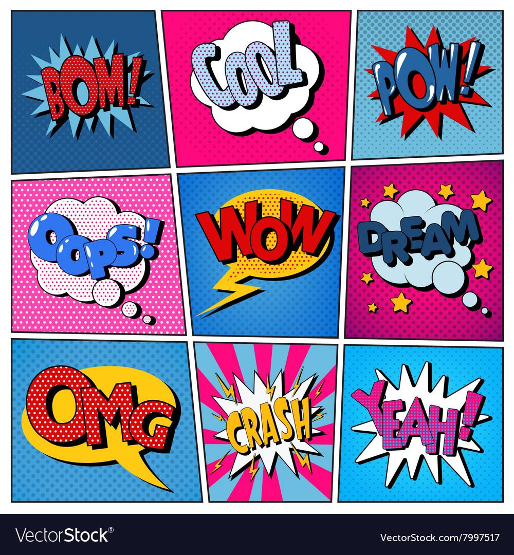 Comic Bubbles Set Expressions Pop Art