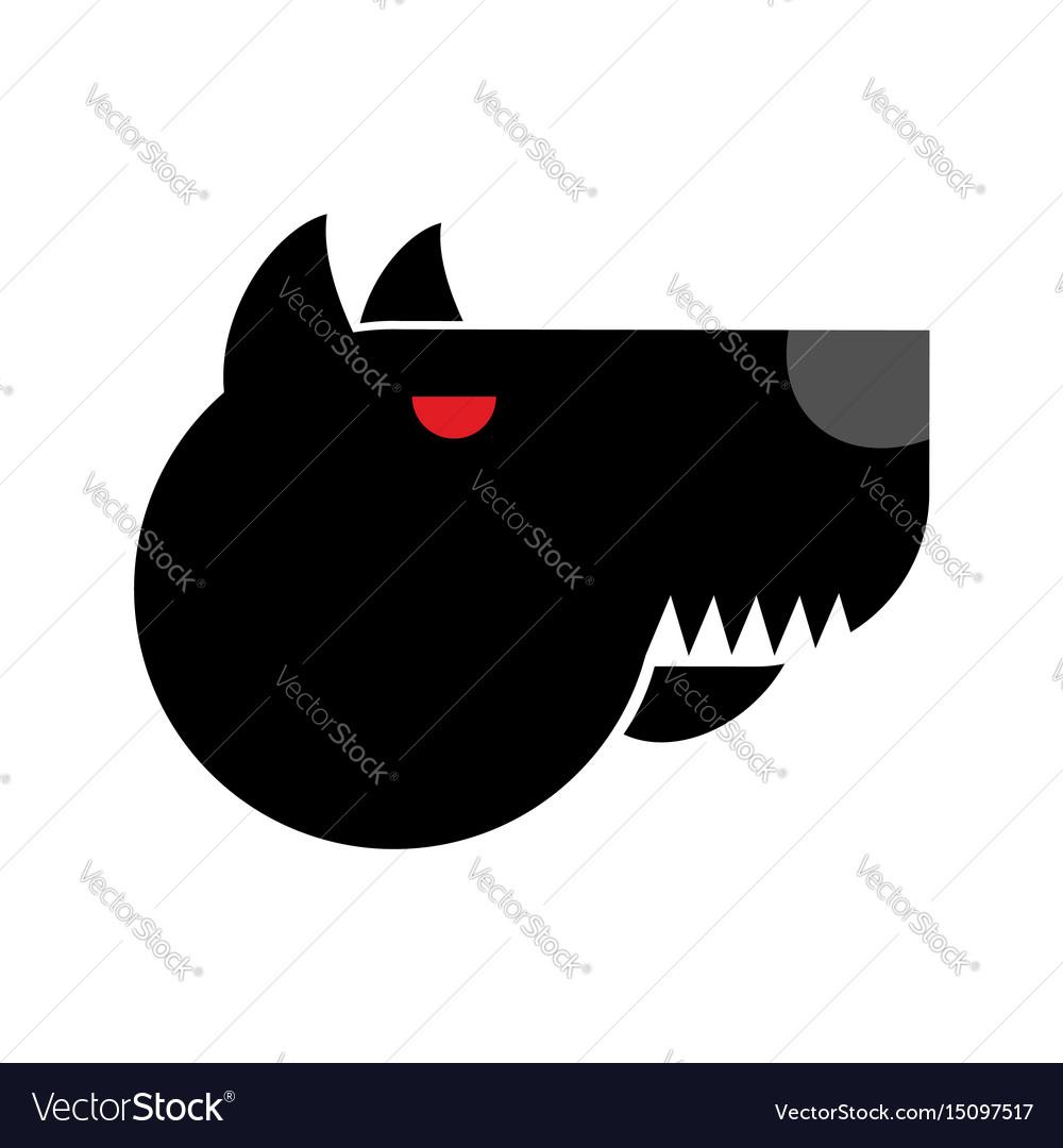 Doberman logo angry dog emblem aggressive pet vector image