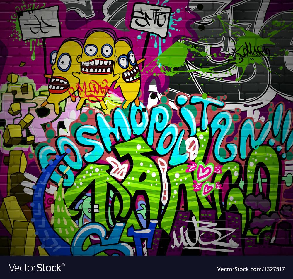 Graffiti wall urban art background vector image