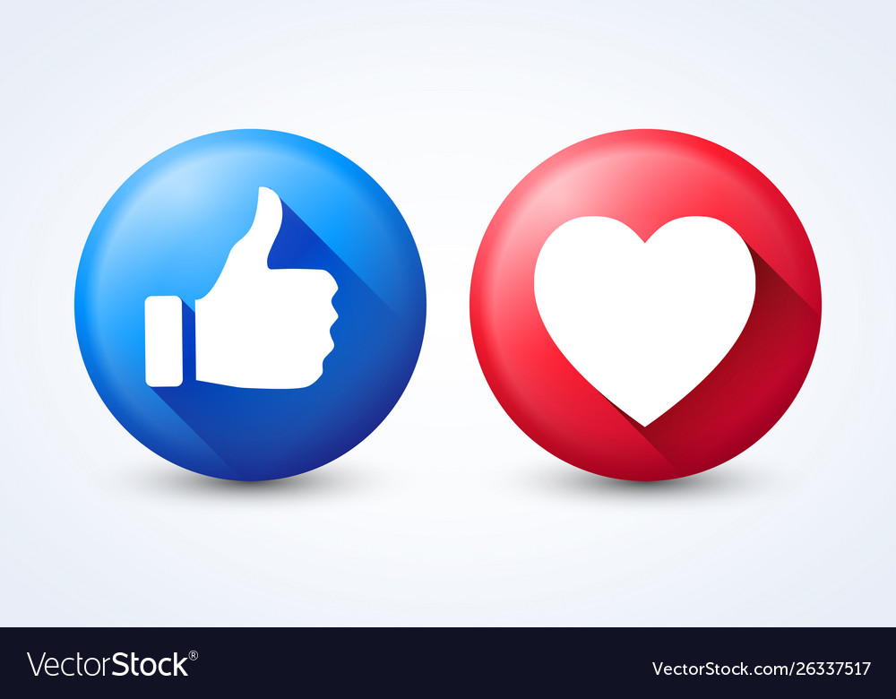 Modern icons like and heart isolated