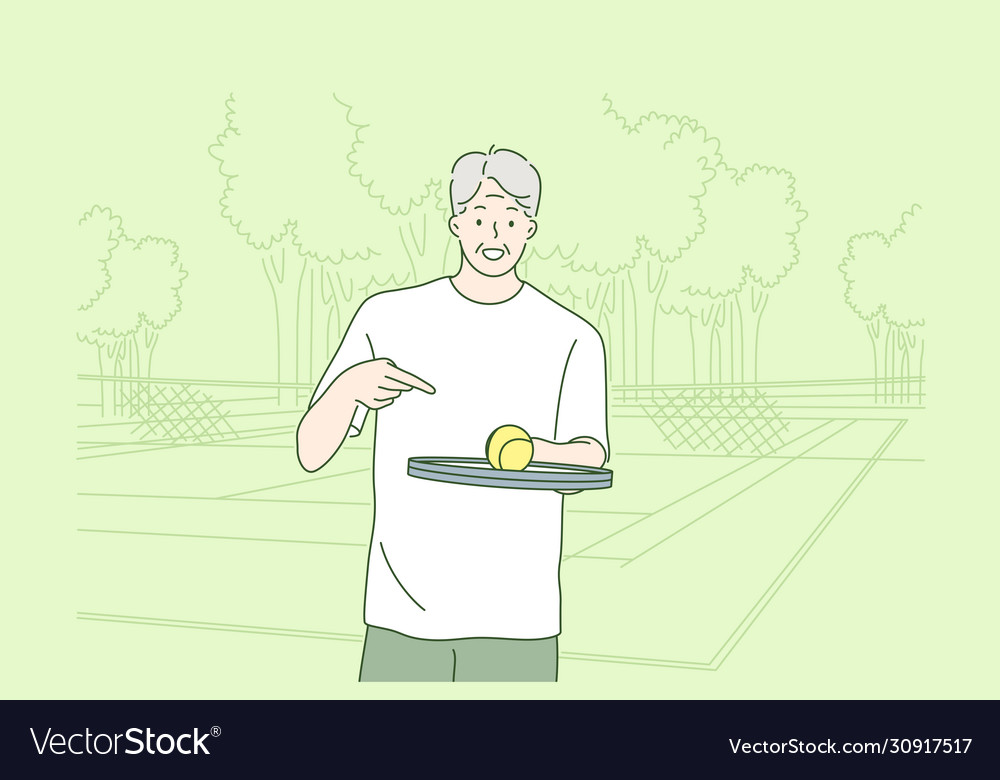 Old man playing tennis concept