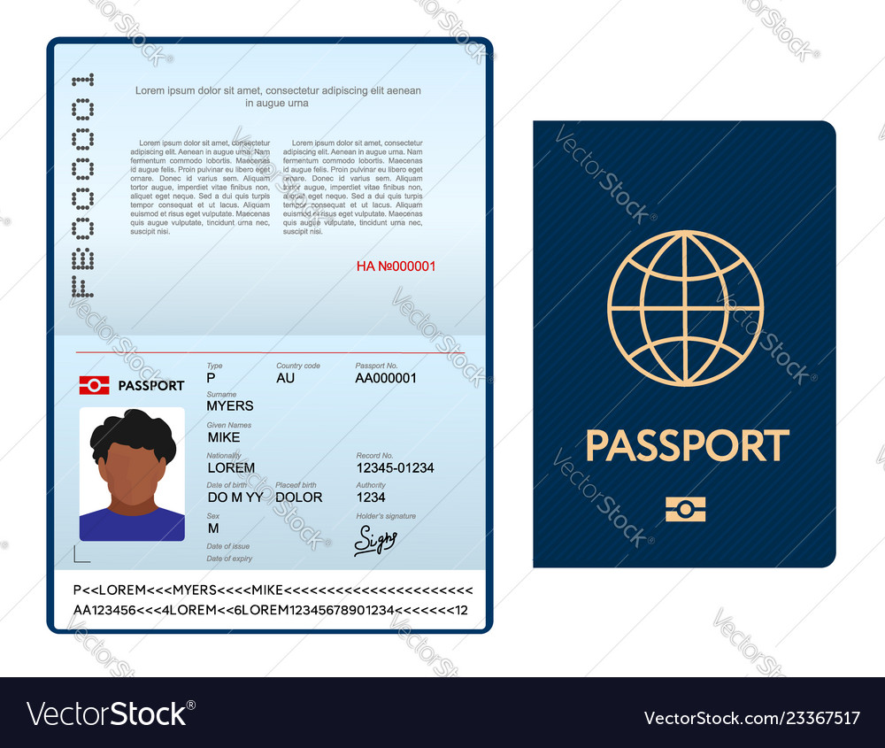 Opened international passport template with blue