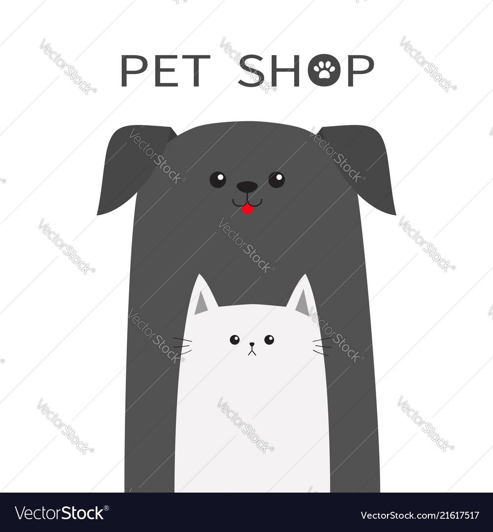 Pet shop icon dog cat animal red tongue happy
