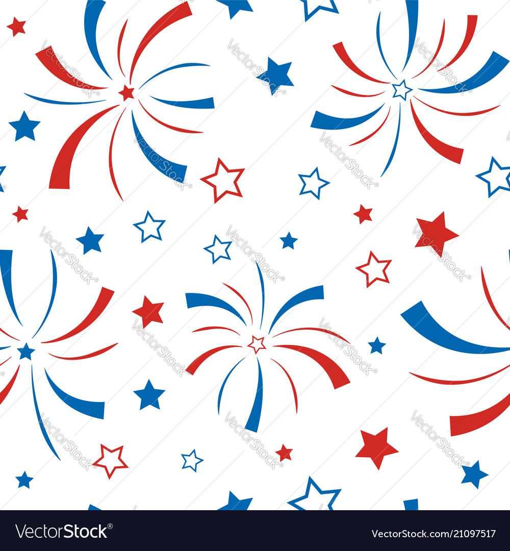 Seamless pattern with stars and firework american