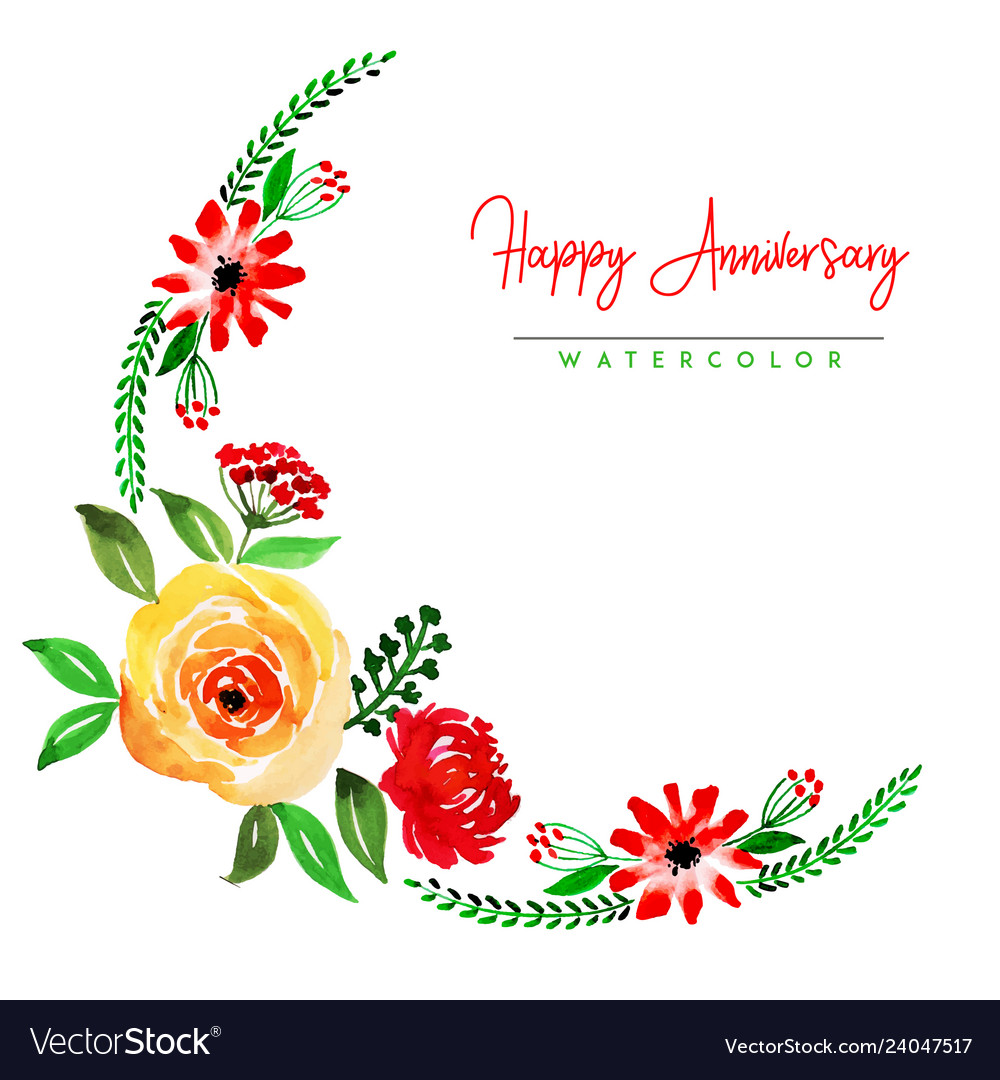 Watercolor Floral Happy Anniversary Background Vector Image
