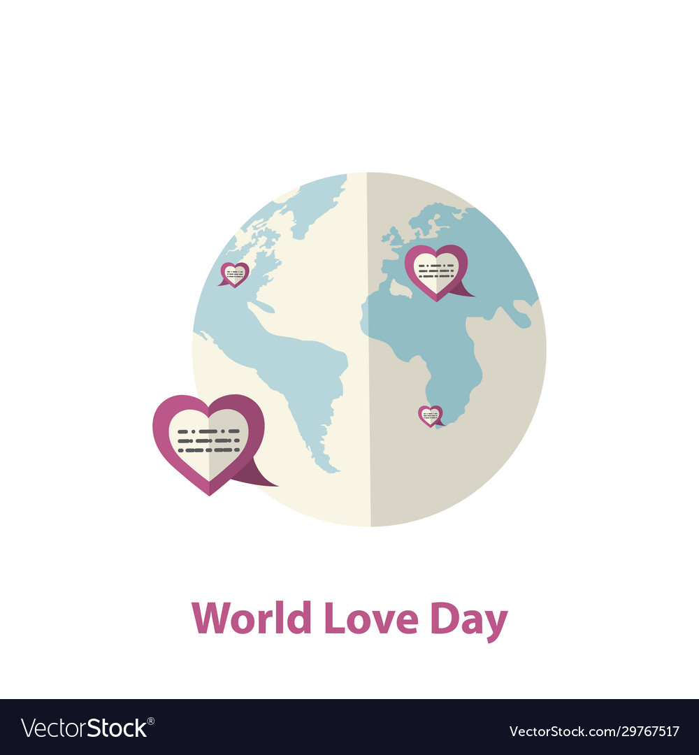 World love day concept with hearts and earth globe