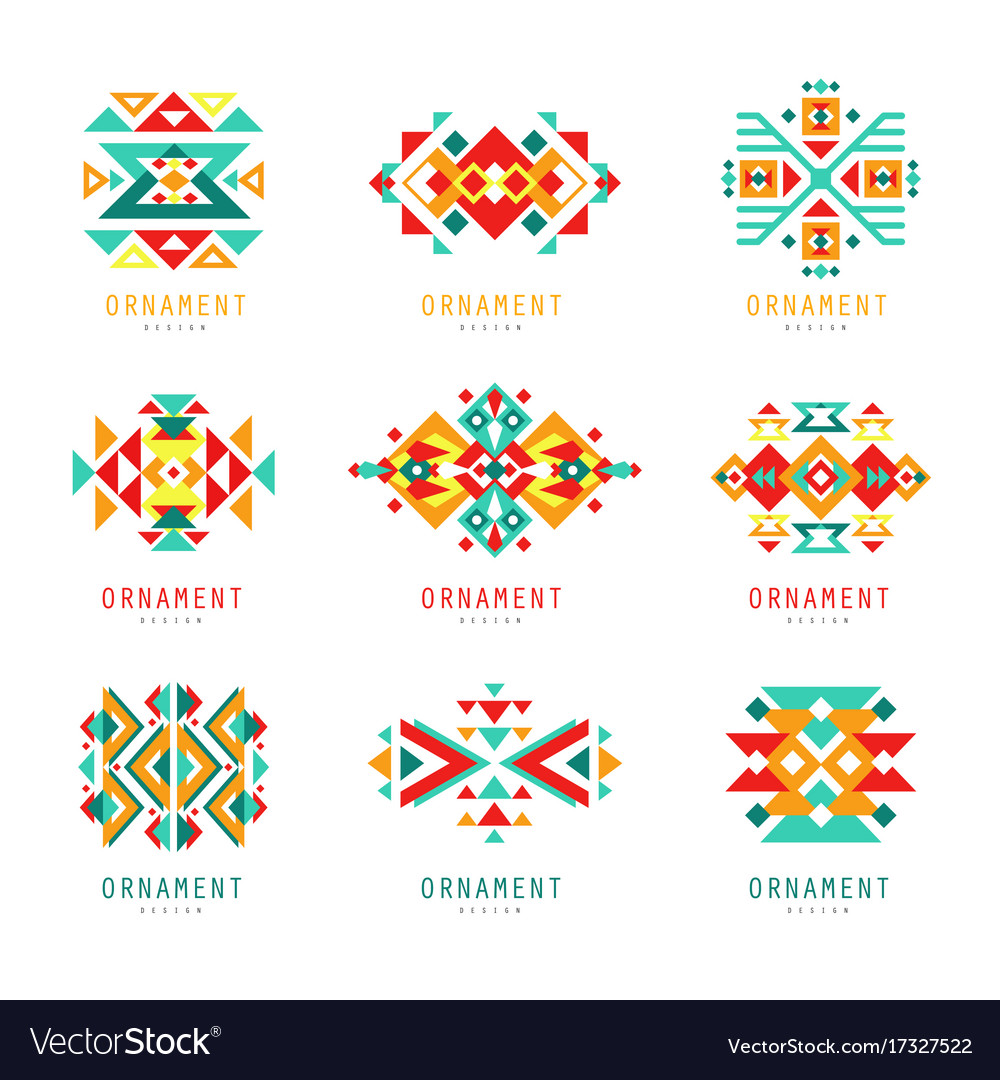 Colorful geometric ornament set abstract logo vector image