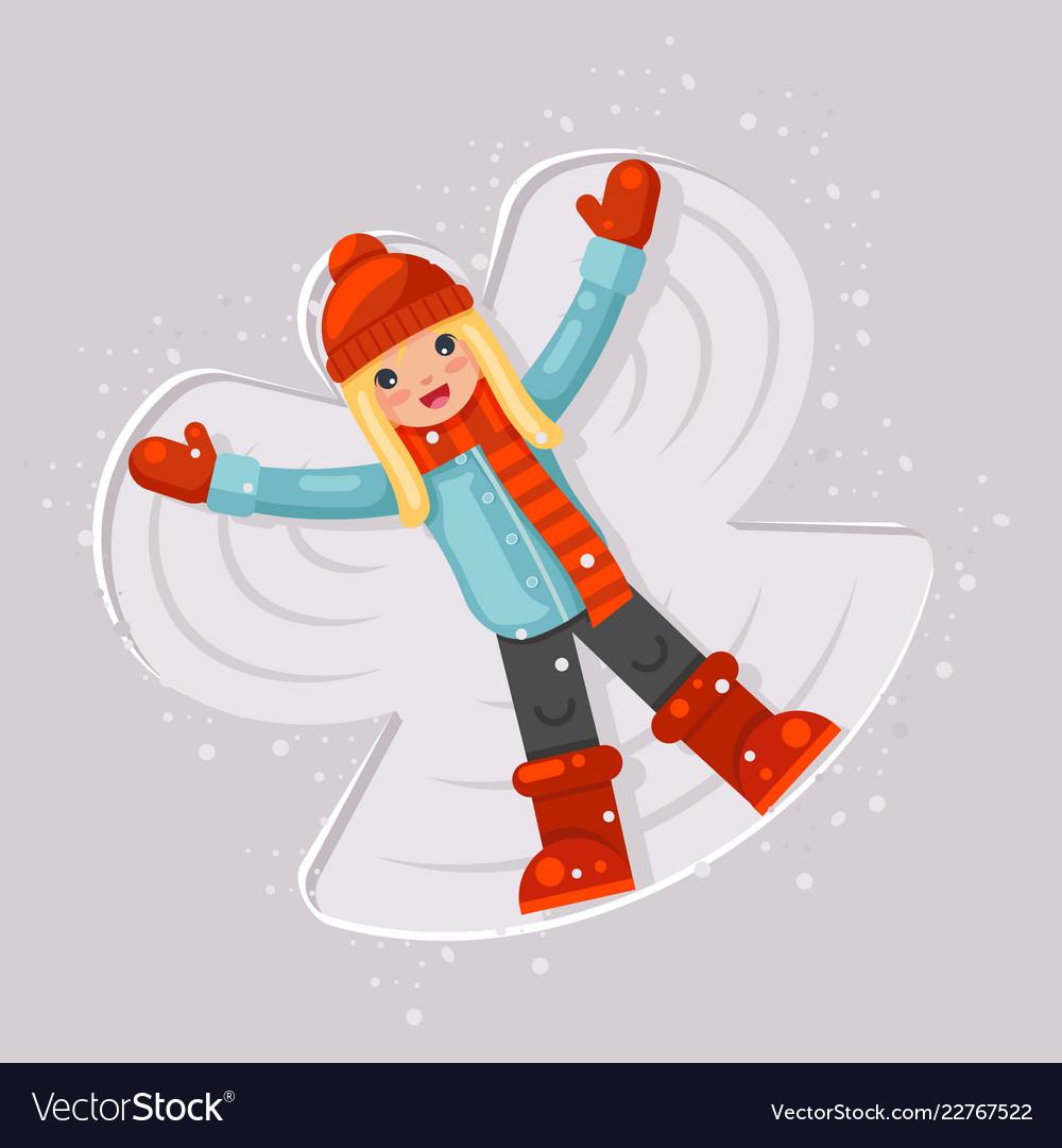 Cute girl making snow angel childhood game lying