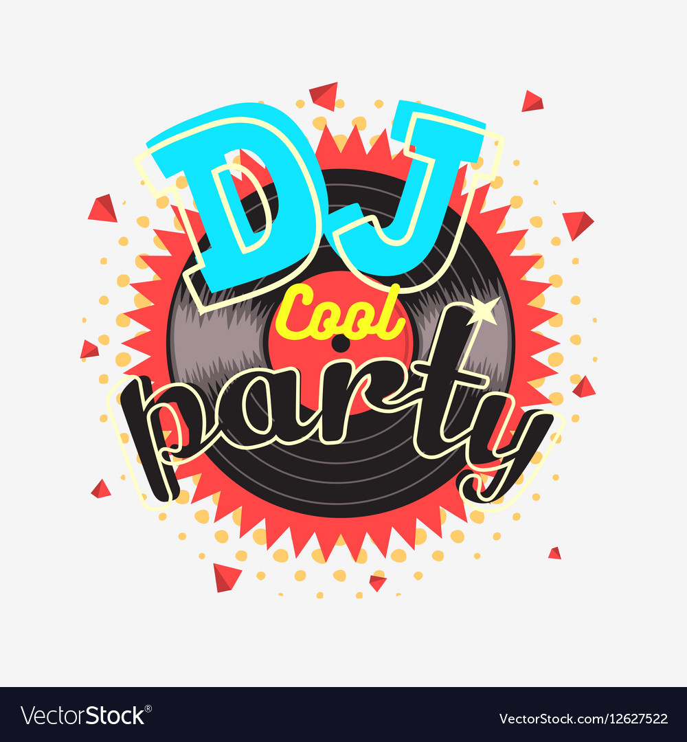 DJ Cool Party 90s Aesthetic Vibrant Colors Poster