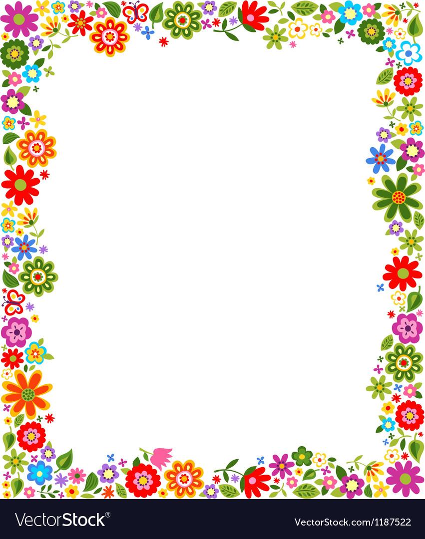Floral border frame background Royalty Free Vector Image