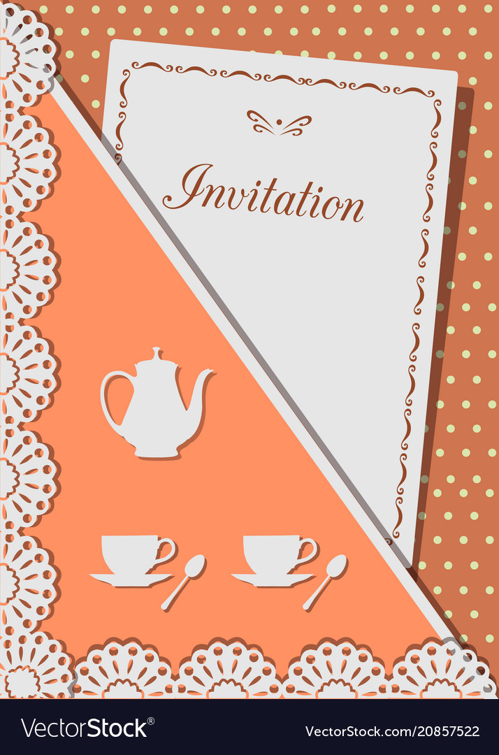 Invitation card for coffee decorated with laceon