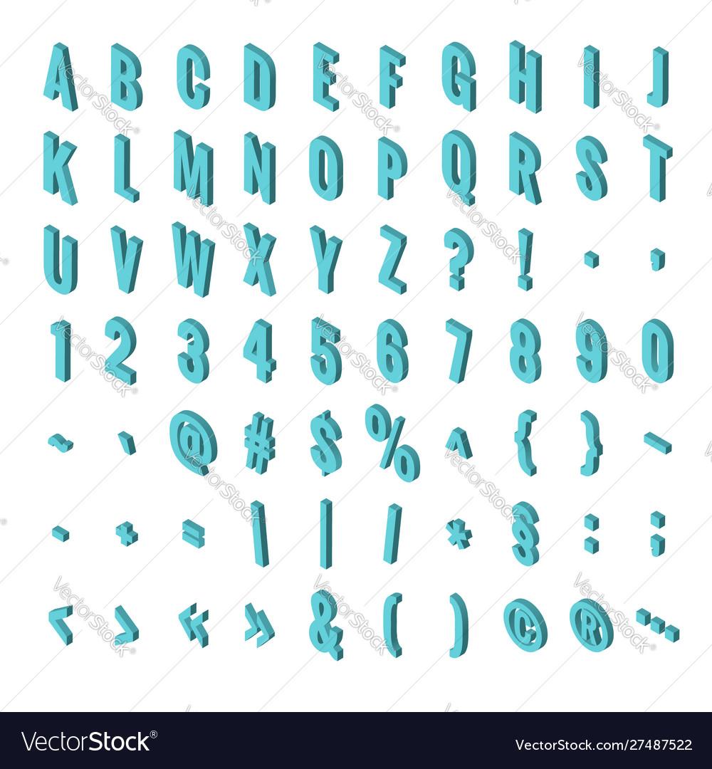 Isometric font alphabet isolated on background