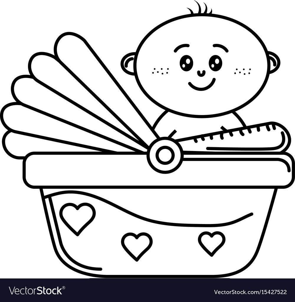 Line security seat with baby child inside vector image