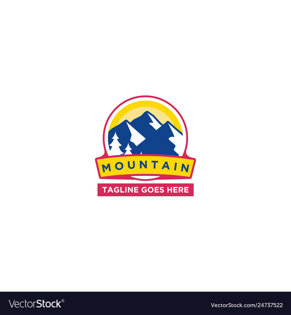 Mountain sun logo design template happy colors