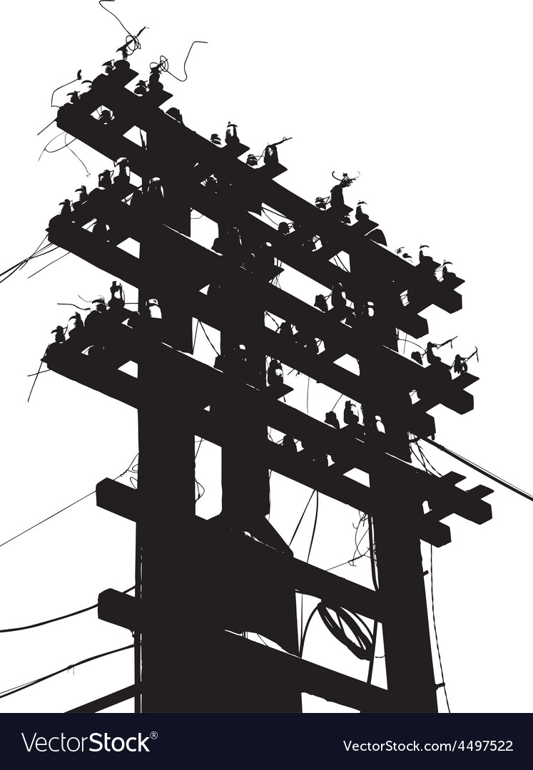 Old decrepit wooden telephone pole on white