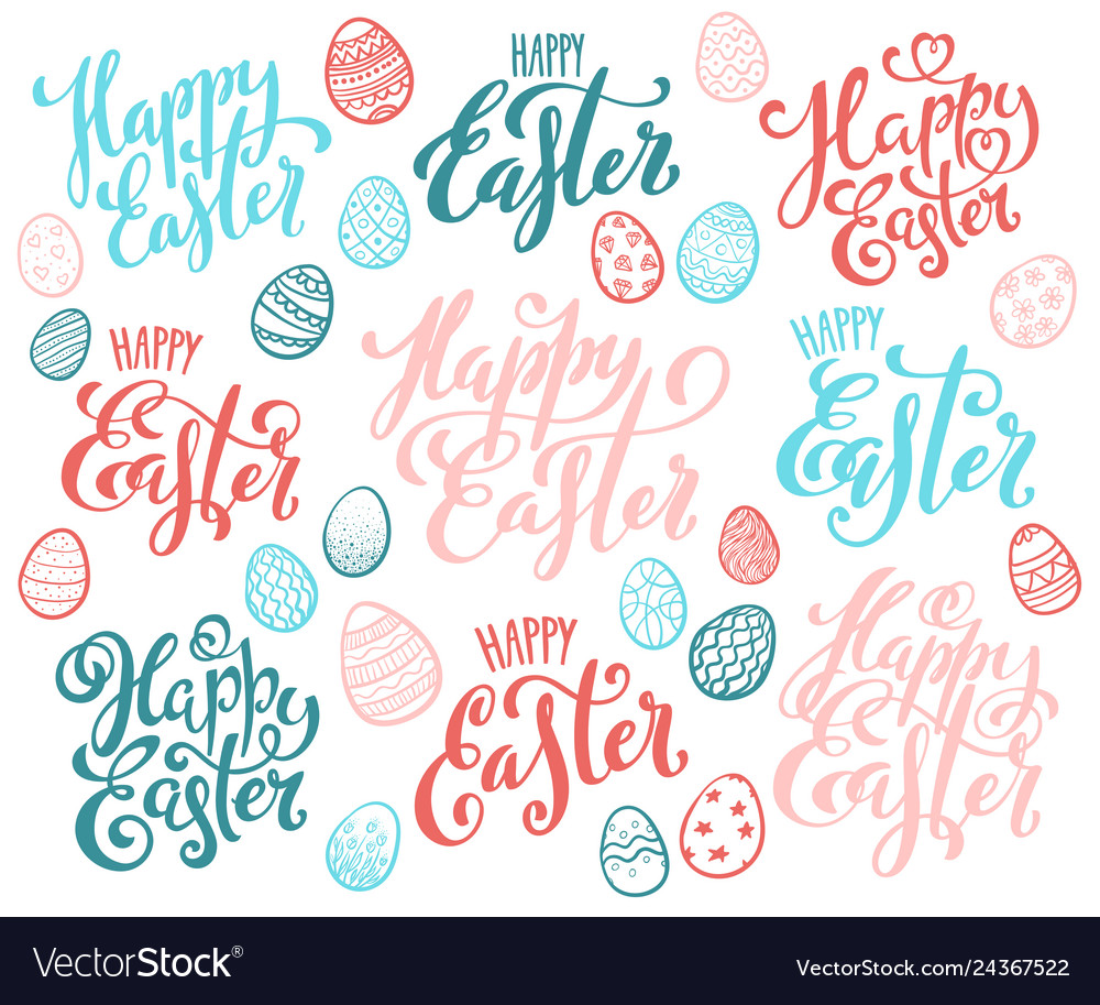 Set hand drawn calligraphy for happy easter
