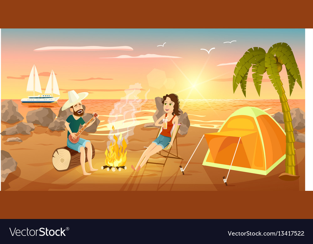 Summer tourist camp on beach near sea vector image