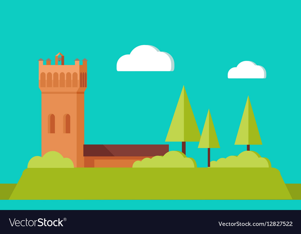 Summer Vacation Touristic Landscape Flat vector image
