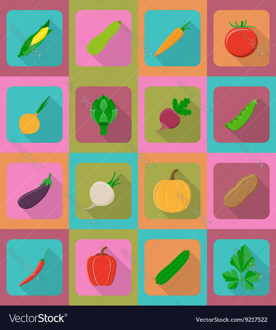 Vegetables flat icons 19