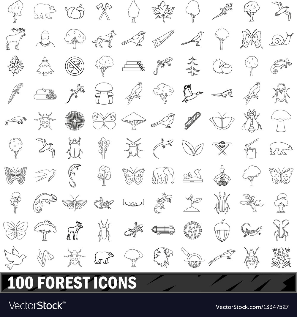 100 forest icons set outline style